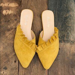 boutique brand mustard yellow ruffle mule
